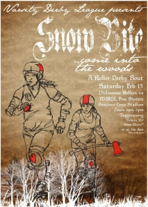 Snow Bite roller derby bout poster by Blacklight Bettie