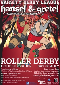 Hansel and Gretel roller derby bout poster