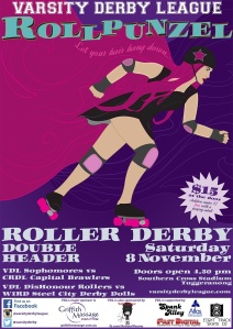 Roller derby bout poster - Rollpunzel