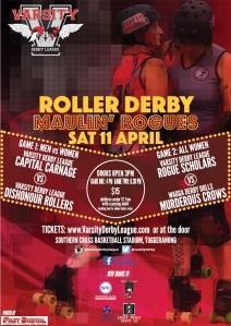 Roller derby bout poster April 2015