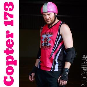 Men's roller derby skater Copter